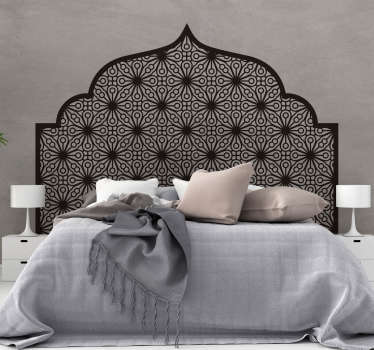 Arabic geometry headboard vinyl sticker for bedroom . Available in different colours and size options. Easy to apply and self adhesive.