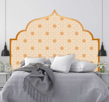 Arabic geometry headboard sticker for bedroom decoration. Available in nay required size. Easy to apply and self adhesive.