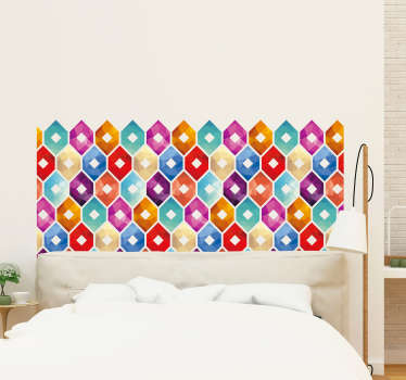 Hexagonal tiles headboard sticker for home decoration. It is made of multicolored hexagonal shape prints. Easy to apply and available in any size.