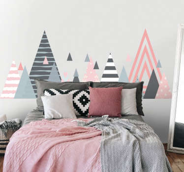 Nordic style geometric headboard sticker. A triangular striped pattern colorful design for home decoration. Easy to apply and available in any size.
