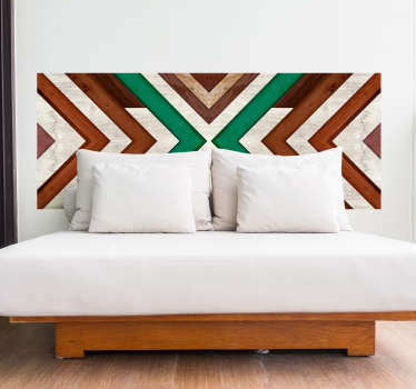 Geometric ornamental headboard decal for bedroom. A design made of colorful wood texture in geometric pattern. Easy to apply and adhesive.