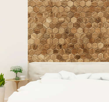 Geometric tiles wall mural sticker to decorate the home. Nice decoration for a living room or as bedroom headboard. Easy to apply.