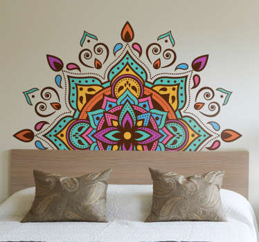 Geometric mandala wall sticker for home decoration. A design made of colorful patterned mandala print. Easy to apply and available in any size.