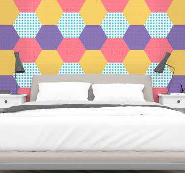 Geometric patchwork wall sticker for home decoration. It is designed with multiple hexagonal patterns with colorful backgrounds.