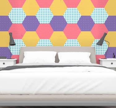 Sticker Maison Hexagones toutes les couleurs