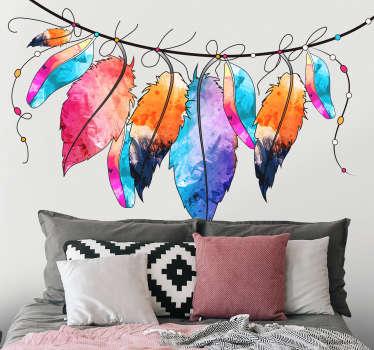 Vinilo colorido Plumas cabecero