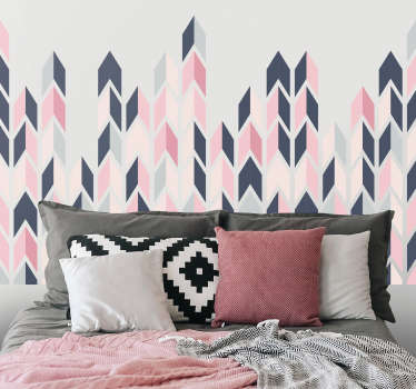 Abstract triangles assembly patterned wall sticker. A multicolored design that can be used for both living room and bedroom. Easy to apply.