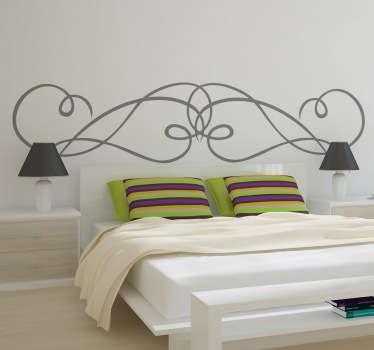 Muursticker voor het decoreren van het hoofdeinde van je bed in je slaapkamer! Een originele wandsticker met een patroon van gekrulde lijnen en bogen.