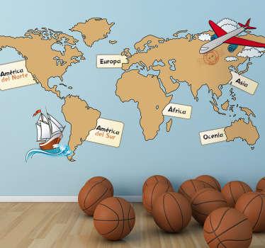 Viajar, explorar, volar, navegar y conocer medio mundo con este didáctico Adhesivo infantil de un atlas marcando los siete continentes de los que se compone el planeta.