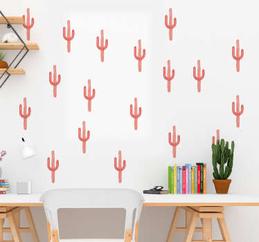 Coral cactus print plant wall decal for home decoration. Easy to apply, self adhesive and available in any required size.