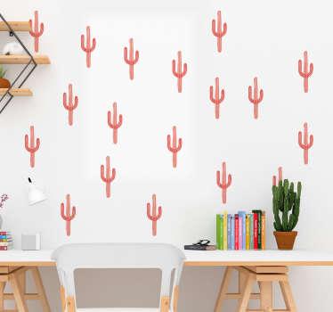 Sticker Plante Lame de Cactus Corail