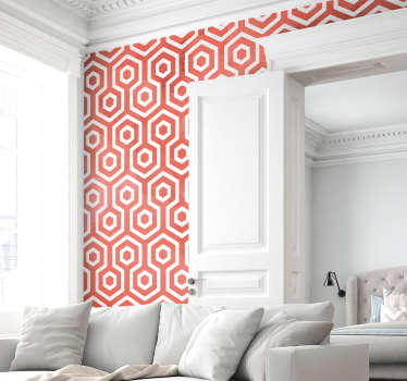 Geometric shape wall sticker made of coral colour hexagonal forms. A nice living room and bedroom decoration. Available in any required size.
