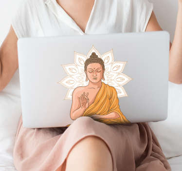 Are you fond of Buddhism? Order on our website, this fantastic Buda yoga laptop sticker. Choose the most suitable size for your computer.
