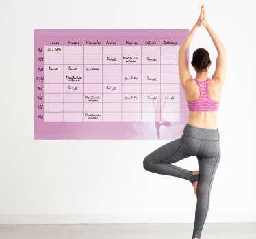 Pizarra de vileda autoadhesiva en tonos lilas formada por el diseño de un calendario para una escuela de yoga. +10.000 Opiniones satisfactorias.