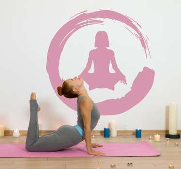 Wandfolie Yoga Frau Schneidersitz Silhouette