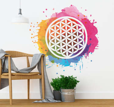 Abstract flower wall sticker designed with multicolored painting pattern and ornamental feature. Easy to apply, adhesive and available in any size.