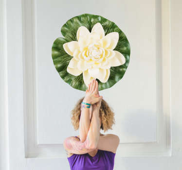 Vinilo pared Flor de loto yoga