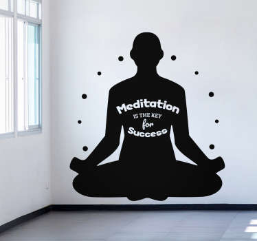 Place the incredibly wise words that meditation is key for success in your home with this meditation wall sticker. Choose from over 50 colours!