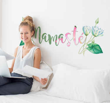 An original text wall sticker with colorful flower. It is an Indian greeting text '' namaste''. It comes in any desired size option and easy to apply.