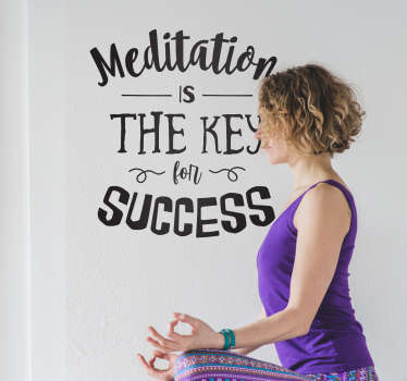 "Pegatina de yoga para pared formada por la frase ""Meditation is the key for success""en diferentes tipografías. Envío Express en 24/48h."