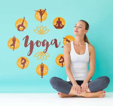 Sticker Sport Yoga Texte Posture