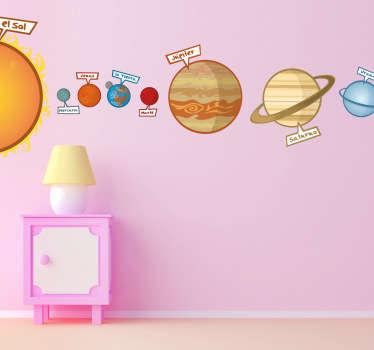 ¿Tu hijo sueña con ser astronauta? Haz su sueño realidad decorando la pared de su habitación con este educativo Adhesivo infantil de nuestro sistema planetario.