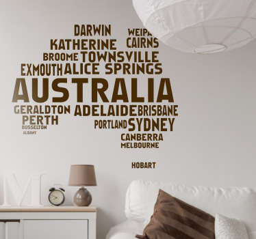 Australian Map Text World Map Sticker