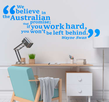 The Australian promise is what is portrayed in this fantastically inspiring and motivational wall text sticker! Discounts available.