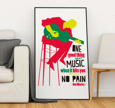 "Scopri il nostro sticker frase canzone con i versi ""One good thing about music, when it hits you, you feel no pain"" di Bob Marley!"