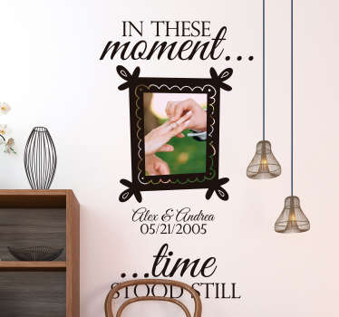 Decorative frame wall sticker with customization image and text. Provide your own image and text content for the design. It is available in any size.