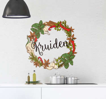Decoratieve keuken muursticker ontworpen op een ronde achtergrond met kookplantkruiden. Eenvoudig aan te brengen en verkrijgbaar in elke gewenste maat.