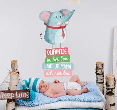 Olifantenlied in het bos nl kinderliedje muursticker om een babykamer mee te versieren. Eenvoudig aan te brengen, zelfklevend en leverbaar in elke gewenste maat