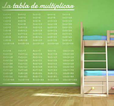 pegatina infantil muy educativa de la tradicional tabla de multiplicar. Haz que tu hijo memorice y aprenda a hacer cálculos desde bien pequeño.