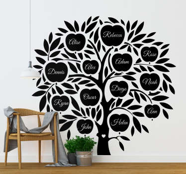 Decorative home wall decal with a big apple tree design. It is customisable family tree you can have in any desires names. Easy to apply and adhesive.