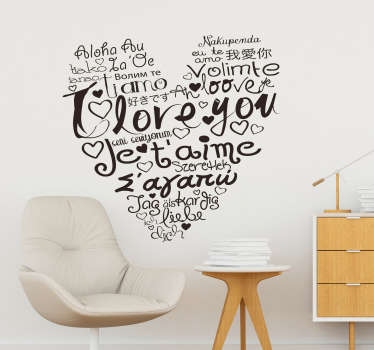 Tell those beautiful, timeless words in over 20 ways with this elegant I love you languages wall sticker. Choose from over 50 colours!
