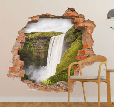 Visual effect waterfall trompe l'oeil wall sticker. A design with a view from a wall. Easy to apply,self adhesive and available in any required size.