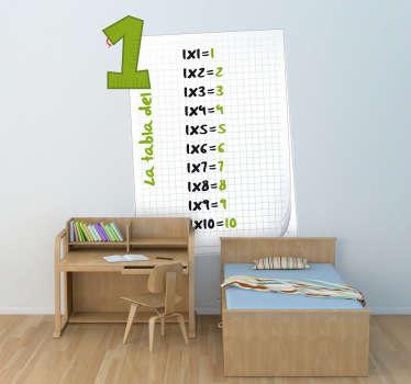 Adhesivo infantil para memorizar la tabla del uno. Harás que tu hijo aprenda fácilmente a multiplicar decorando su habitación con este didáctico vinilo.