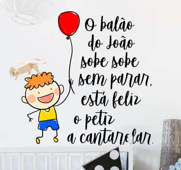 Autocolantes com texto o balão do João