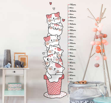 Decorative kitten meter height chart decal for children bedroom space.It features a lot of kittens in a laundry basket with vertical calibrated metre.