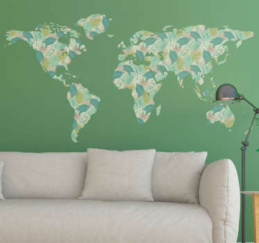 Tropical World Map Wall Sticker