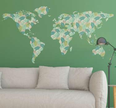 Autocolante mundo mapa mundo tropical
