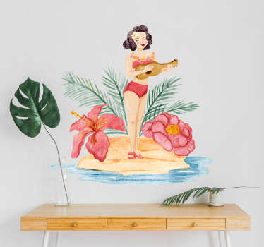 Pay tribute to the magic of Hawaii with this fantastic wall art sticker depicting a woman in a Hawaiian environment! Anti-bubble vinyl.