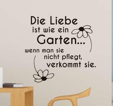 Sticker Valentinstag Liebe ist wie ein Garten