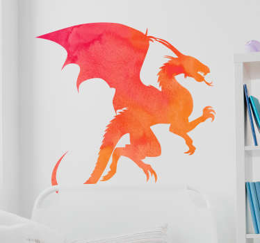 Silhouette monster wall sticker with the design of a colorful dragon. Easy to apply, self adhesive and available in any required size.