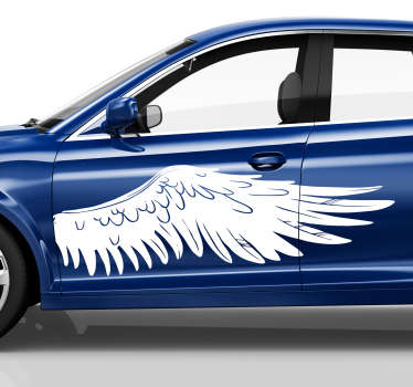 Decorative angel's wing vinyl sticker for vehicles decoration. Available in any required size. Easy to apply and adhesive.