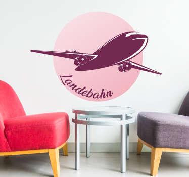 Landebahn Flugzeugsticker kann man ganz leicht in seinem Wohnzimmer oder Jugenzimmer aufhängen. Das Wandtattoo zeigt ein schönes Flugzeug.