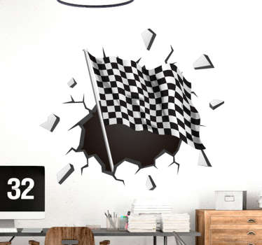 Trompe l'oeil racing flag wall sticker designed in visual effect appearance. Easy to apply and available in any required size.