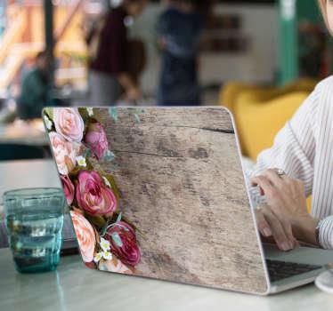 Laptop Aufkleber Rosen auf Holz