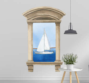 Visual effect marine theme wall sticker for home and office space decoration A design of a sailboat view from a window space.