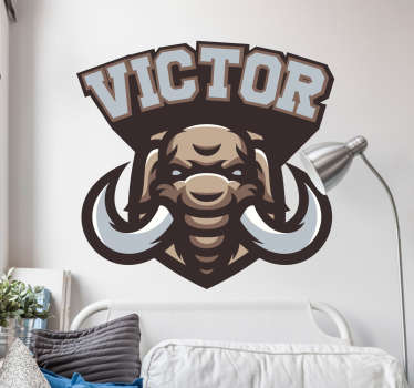 Personalisable name wall sticker with the design of mammoth. Provide a desired name for the design. Easy to apply and self adhesive.